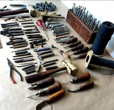 Huge Lot of Vintage/ Antique  Leather Working Tools, Stamps. Approximately 225pc