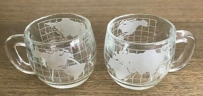 Pair Of NESTLE World Globe 8 oz Glass Mugs 1970's Advertising coffee tea cocoa