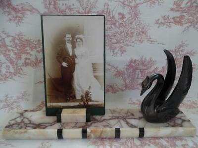 Large French Art Deco Marble Picture Or Photo Frame Mount- 1930's Swan