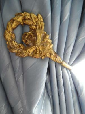 PAIR OF ANTIQUE FRENCH GILT BRASS CURTAIN TIE BACKS / HOOKS -Articulated