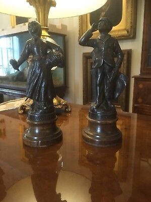 Pair Of French Antique Bronze Figures Statues Ornaments Country Estate Sale