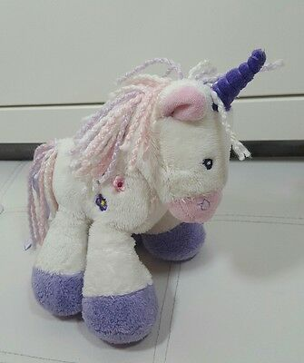 m&s marks and spencer unicorn soft toy 7898 082 white pink purple flower beanie
