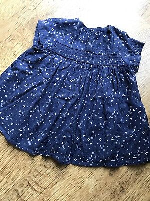 M&S Navy Summer Top Tunic Baby Girl 9-12 Months