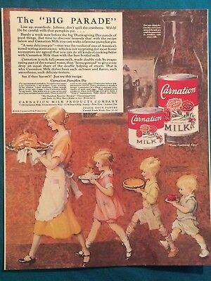 Antique Vintage Carnation Milk Print Ad On Photo Stock Nice Condition See Pics