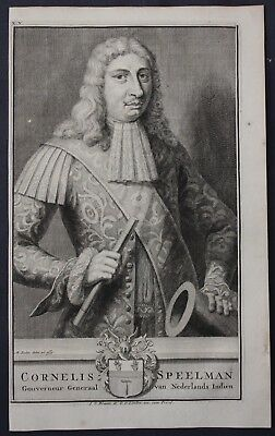 1726 Cornelis Speelman Governor East Indies Portrait engraving Valentijn Asia