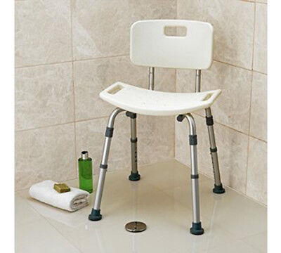 Shower Stool Seat With Back Rest Bathroom Aid Disability Mobility