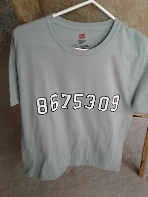 867 5309  T-Shirt Size Medium, Light Green 50% Cotton Hanes, Lightly Worn