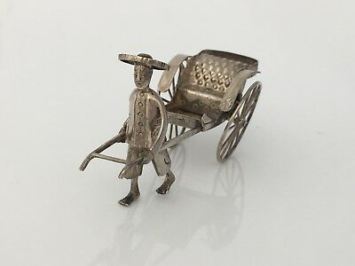 Antique Chinese Export Solid Silver Miniature Rickshaw (R2995D)