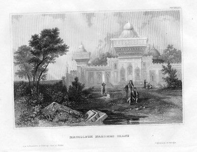 1850 - Mausoleum Mahomed Chans Indien India engraving Original Stahlstich