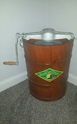 Antique White Mountain Crank Ice Cream Maker Freezer 6 Quart Tested & Works