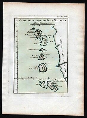 1764 Maluku islands Molukken Indonesia Indonesien Bellin handcolored antique map
