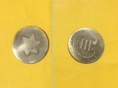 US silver 3 cent piece, no date, type coin , heavily worn and slightly bent