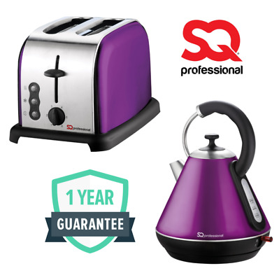 1.8L Cordless Jug Electric Kettle & 2 Slot Wide Slice Bread Toaster Set Purple