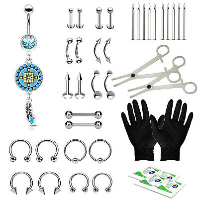 BodyJ4You 36PCS Professional Piercing Kit Steel 14G 16G Flower Belly Ring Tongue