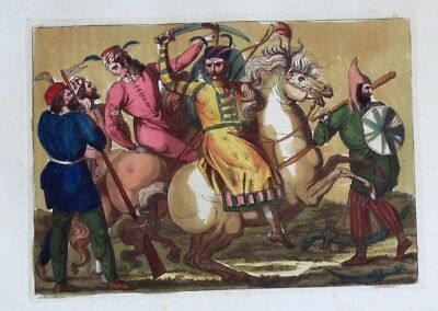 1825 - Persia Persien Militaria military Aquatinta aquatint antique print