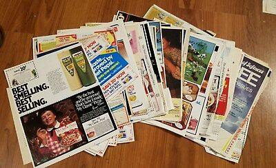 Vintage newspaper coupons from 1984, 70 items from coupons to sheets, Olympics