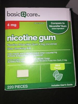 Basic Care Nicotine Gum, 4mg, Mint Flavor, 220 Count Exp 02/2020