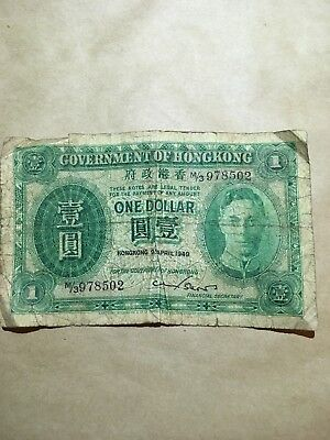 HONG KONG $1 1949 King George circulated foreign Banknote currency