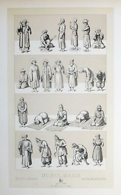 1880 - Moslem Moslems Islam Tracht costumes Asien Asia Lithographie lithograph