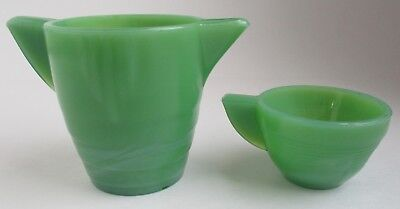 VTG Akro Agate Small Stacked Disc Childs Green Jadite Pitcher Creamer and Cup