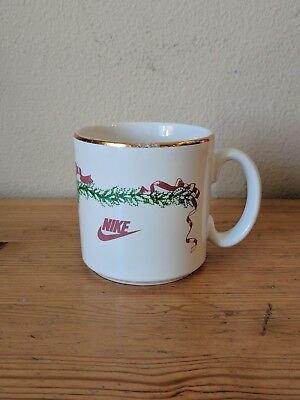 "VTG 1987 Nike Christmas Mug ""Season's Greetings"" White Gold 80s Air Jordan"