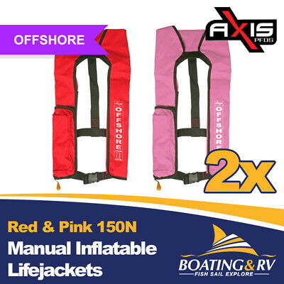 2 x Axis Red & Pink Manual Inflatable Life Jackets | 150N Offshore PFDs