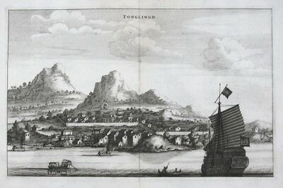 1680 - Tongling China Panorama engraving map Kupferstich Asia Asien carte