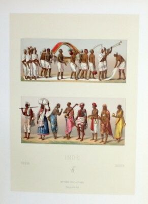 1880 - Beerdigung funeral costumes Tracht Indien India Lithographie lithograph