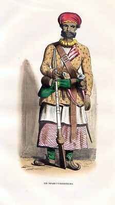 1845 - Sipahi Osman Empire Uniform Trachten Holzstich costumes antique print