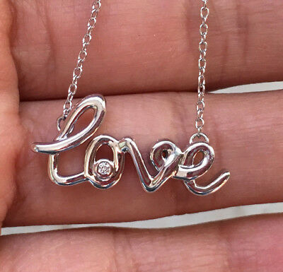 Sterling Silver Natural Diamond Love Pendant Necklace Valentine's Gift