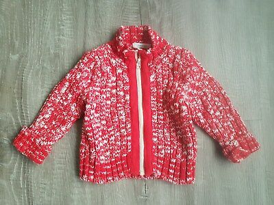 Country Road Red and White Zip Jumper Cardigan - Size 6-12months