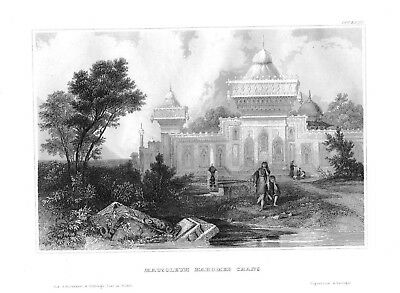 1840 - Mausoleum Mahomed Chan Besucher Asien Asia Stahlstich engraving