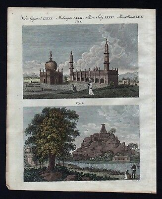 1800 - Arcot India Mahabalipuram Pagode temple engraving antique print Bertuch