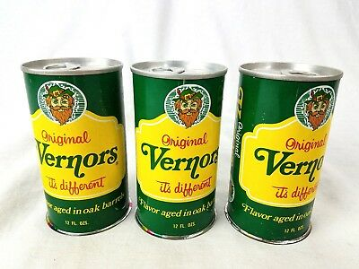RARE 1970 Vernors Ginger Ale NEVER-FILLED Cans Lot of 3