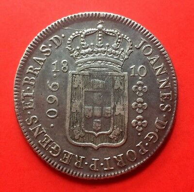 Silver Coin 960 Reis Of Brazil. Year 1810. On 8 Reales Carlos Iv Of Spain. B?
