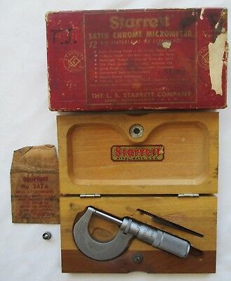 "Starrett Satin Chrome 1"" Micrometer No. 230 With Wooden Case"