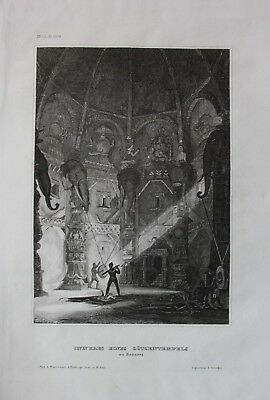 1840 - Varanasi India Shri Kashi Vishwanath Temple engraving antique print