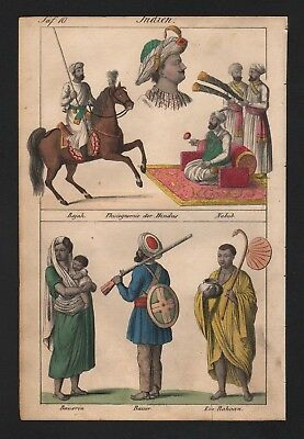 1830 - India Asia Hindu Hinduism natives costumes Lithograph