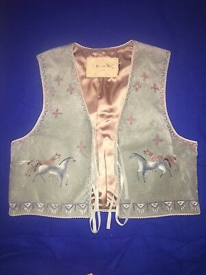 Patricia Wolf Hand-Painted Western Vest Suede Wild Horses Women's L Texas