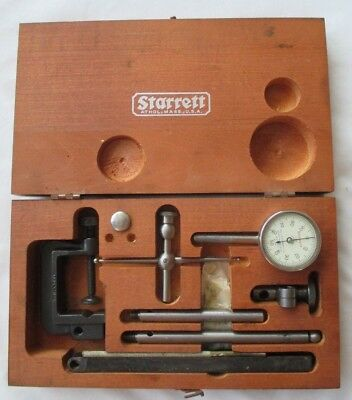 Starrett Universal Dial Test Indicator No.196 Kit .001 Jeweled Wooden Case Clamp