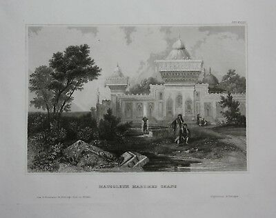 1840 - Mausoleum Mohammed Kan Indien India Asia engraving gravure Stahlstich