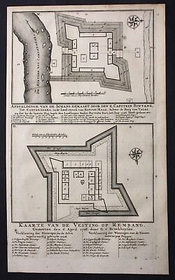 1726 Java Tegal Rembang map engraving fort Valentijn Asia Indonesia carte
