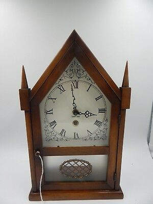 8 Day Mantel Clock Chalet France Three Mountaineers 1960s Vintage