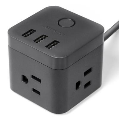 Black Cube 3 USB Power Strip Outlet Plug Socket 4.92ft Extension Lead Cord Wire