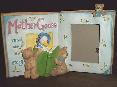 """Holson Burnes 1992 Mother Goose Teddy Bear Story Book Resin Picture Frame 2""""x3"""""""