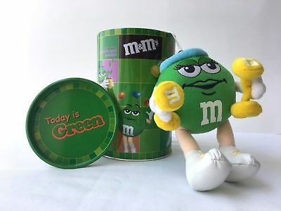 """""""Today is Green"""" Tin Canister w/ GREEN M&M 2002 Plush Toy WEIGHTLIFTER - Rare!!!"""