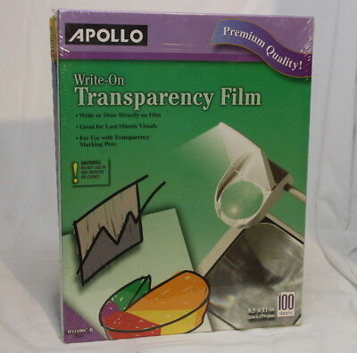 new Apollo Write On Transparency Film 8.5 x 11 Inches Clear 100 Sheets  WO100C-B