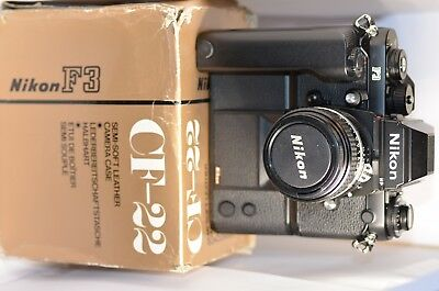 Vintage Nikon F-3 Camera with MD-4 Motor Drive & New Leather Case, No Reserve!!!
