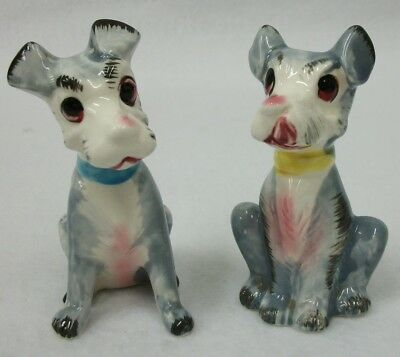 Adorable Vintage 1950's Hand Painted Dog Salt and Pepper Shakers - Japan