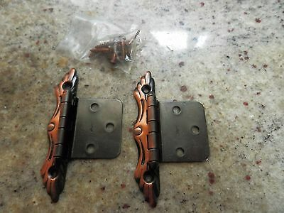 Copper Tone French Provincial Cabinet Hinges, Vintage, New Old Stock
